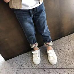 f80176fa7c 2019 jeunes enfants 2018 Automne Nouveau Modèle Garçon À Carreaux De  Recherche Pantalon Jeans Mode Casual