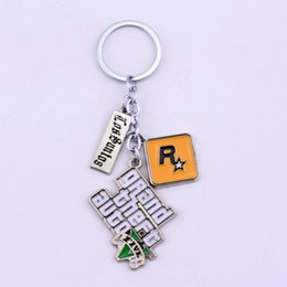 Wholesale Games Decor - Grand Theft Auto 5 Game Jewelry Keychain Alloy GTA5 Keyring Car Phone Bag Key Buckle For Gift Decor 4 5rj Y