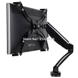 "Agujero de montaje usb online-Loctek D5V Gas Spring Full Motion Desktop 10 ""-27"" Soporte de monitor LCD LED para montaje sin montaje Soporte de monitor con puerto USB"