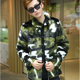Wholesale mink fashion clothing - Fashion Man Winter Warm Artificial Fur Men's Jackets Leisure Camouflage Coat Male Mink Hooded Coats Faux Fur Rabbit Clothing