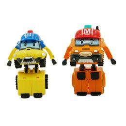 Wholesale Children Toys Korea - 2pcs  Set Robocar Poli Robot Korea Anime Action Figures Poli Robocar Bucky Mark Transformation Toys For Children Gifts