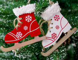 wholesale decorative indoor trees Coupons - Christmas Painted Decorative Pendant Christmas Tree Innovative Skates Ski Shoes Pendant Christmas Home Door And Tree Decorations
