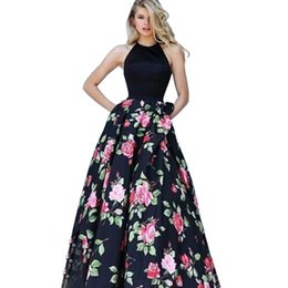 vestidos de dama de honor de boda blanco negro rojo Rebajas Vestido de la mujer de moda sin mangas backless sexy halter dress floral impreso grande swing wedding party clothing envío gratis