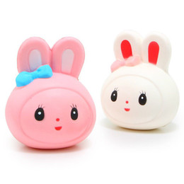 Wholesale Stuffed Animal Heads - Kawaii Squishies Jumbo Rabbit Head Squishy Slow Rising Soft Squeeze Stuffed Kids Toys Mobile Phone Straps Gifts Collections