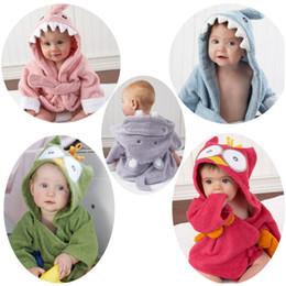 Wholesale Newborn Baths - Cotton Baby Home Nightgown Cartoon Animal Baby Bathrobes Children Bath Robe Newborn Blankets Bathing Towel Hooded Baby's Bathrobe Wholesale