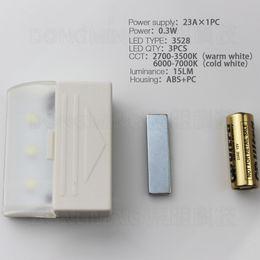 Wholesale 12v 23a Battery - 12pcs 3528 Wireless + 12V 23A Battery powered Novelty magnet Led Drawer lamp magnetic sensor cabinet light for kitchen closet