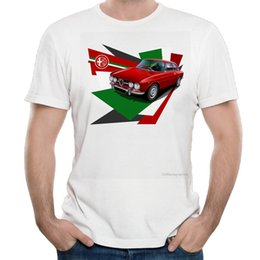 Wholesale Italy Car - Italy national treasures alfa romeo cars t shirt men white Casual Breathable plus size tee shirt homme Italian style tshirt
