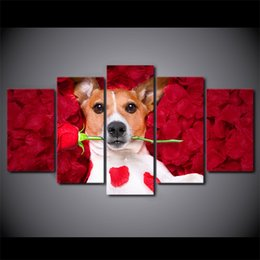 Wholesale Dog Pictures - HD Printed 5 Piece Canvas Art Dog Holding Roses Paintings Wall Pictures Modular Music Poster Home Decor Free Shipping NY-7273C