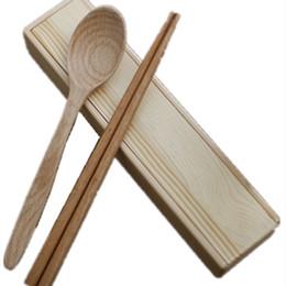 2019 scatola di legno del bacchette Bacchette di scatola di legno Bacchette di faggio importate cucchiaio set in legno massello senza scatola regalo cucchiaio di vernice scatola di legno del bacchette economici