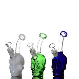 Wholesale Glass Cool Tube - green&blue cool stereo skull glass bongs waterpipe tubes clips percolator beaker chamber pipes chillers oil rigs dab 14mm joint 8.2in tall
