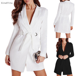 Wholesale Women Dresses Blazers - Fashion Ladies Slim Belted Deep V Neck Suit Dress Quality Long Sleeve Suit jacket Womens Blazer For Work White Black Blazers