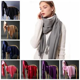 Wholesale Wool Long Scarf - Solid Tassel Wool Scarf 200*70cm Long Warm Scarves Soft Wrap Scarf Tassels Winter Warm Shawl 50pcs OOA4363