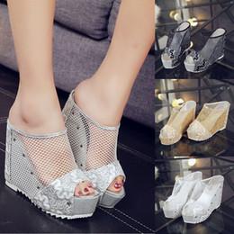 9fc20d59b65 gold wedge sandals Canada - Womens Flip Flops Hollow Wedge High Heel Shoes  Ladies Summer Sandals