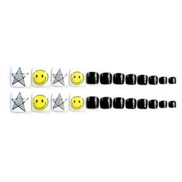 Wholesale fake nails toes - 24Pcs Fashion Smle Face Star Black False Fake Toe Nails Acrylic Nail Tips Art #35 27W