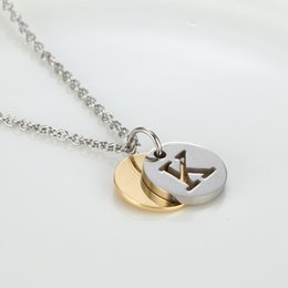 Wholesale necklace designs letters - Letter Design Capital Initial Necklace Women Men Jewelry Gold Silver Color Stainless Steel Alphabet Letter Necklace Jewelry