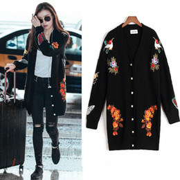 Wholesale Women Cardigan Butterfly - New women embroidery jacket woman Butterfly Flower sweater tiger head embroidery flowers long cardigan sweater coat