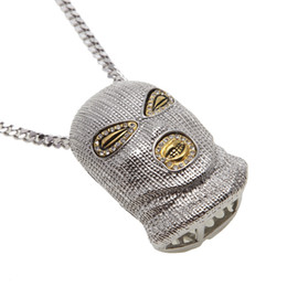 Wholesale Mens Silver Mask - 5 Colors Hip Hop Choker Mens Bling Iced Out Chains Mask Pendants Rhinestones Crystal Cuban Links Jewelry Necklaces