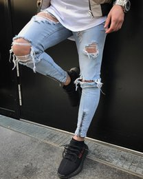 Blue Slim Jeans Fit Straight Biker Ripper Zipper Full length Men Pants  Casual Denim Jeans Men Clothing 28-38 aa3c25bc4