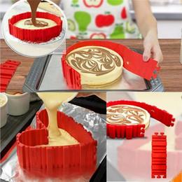 Wholesale Silicone Square Mould - 4pcs set Cake Bake Cooking Moulds Cake Mold DIY Silicone Cake Baking Square Round Shape Mold Magic Bakeware Tools T2I054