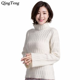 09c343464e41c Chinese Goat Cashmere Knitted Winter Sweater Women Bell Sleeve Shaker  Turtleneck Pullover Female Comfy Loose Fit