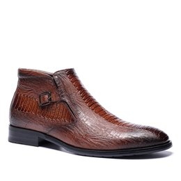 Wholesale hand made shoes - 2018 brand men crocodile boots waterproof outdoor shoes British style Martin boots cortex Oxford shoes Fashion hand making