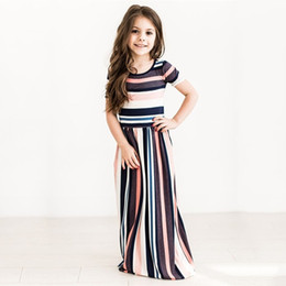 Wholesale American Length - Girls Colorful Striped Dress Printed O-neck Short Sleeve Long Dress Ankle-Length Longuette Skirt Breathable Summer 1-7T