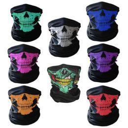 Wholesale Scarf Kerchiefs - Multi Function Magic Scarf Polyester Fiber Skull Head Pattern Kerchief Safe Washable Sports Mask For Halloween Props 1 1lk B