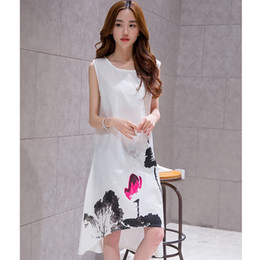 Wholesale korean lace dress xl - Xia Xinkuan Cotton Competitive Products Korean Chinese Ink Printing Easy Will Code Night club Dress Suit-dress womens dresses lace