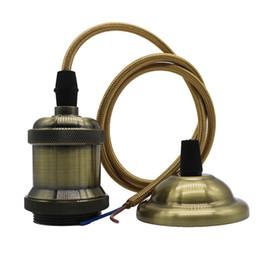 Wholesale lamp base holder - 110V 220V Retro Edison Bulb Holder E27 Socket Antique Brass Lamp Base Cord Grip Threaded Lampholder For Pendant Light
