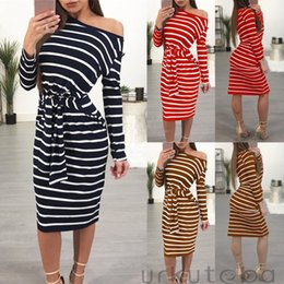 0f82825804c sexy plus size club outfits NZ - Striped Bodycon Women Dress 2018 New Slim  Bandage Belt