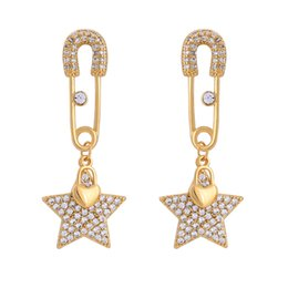 copper pin earrings Coupons - me0028 2018 New Gold Color Copper Crystal Star Pin Pendant 925 Silver Needle Drop Earrings