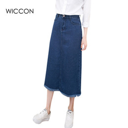 Wholesale Jupe Denim - Summer Women jean skirt high waist vintage casual long pencil denim skirt Fashion Tassel women skirts S-2XL jeans jupe WICCON