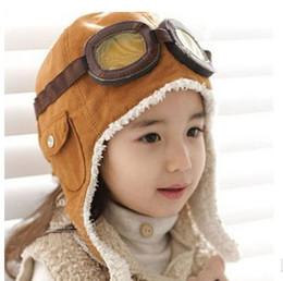 Bonnets noirs pour bébés en Ligne-Hiver Bébé Enfant Garçon Fille Enfants Pilote Aviateur Chaud Chapeau Chapeau Bonnet Marron Noir