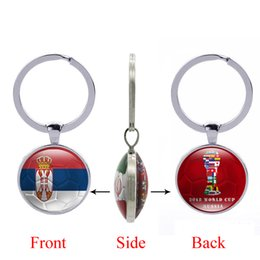 Wholesale football photos - 2018 FIFA World Cup Russia-Republic of Serbia National Flag Football Pattern Double Sides Photo Printing Bottle Cap Opener Key Chain