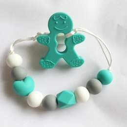 Wholesale gingerbread man wholesale - Gingerbread Man teether of Silicone Teether Pacifier Clip - silicone Toys pacifier Clip - Chew Toy baby