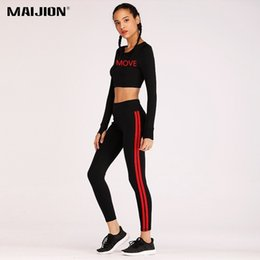 MAIJION New Autumn Winter Casual Running Sets Women Letter Print Top+Slim Pants Sport Suits Ladies Breathable Yoga Sets Fitness от Поставщики брючный костюм
