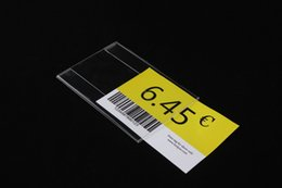 Wholesale Acrylic Price Tags - 7.5x5cm Acrylic T1.3mm Plastic Sign Price Tag Label Display Paper Promotion Name Card Holders 40pcs label frame