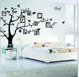 Wholesale Tree Vinyl Wall Sticker Paper - Free Shipping DIY Family Photo Frame Tree Wall Sticker Home Decor Living Room Bedroom Wall Decals Poster Home Decoration Wallpaper Mural Art