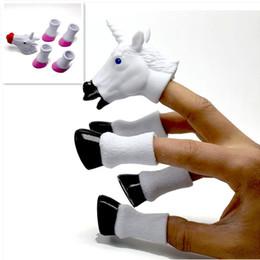 Unicornio lindo marionetas de dedo Kids storytellingprops 2 colores animal Finger toys Kids performance party toys desde fabricantes