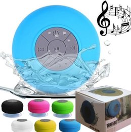 Wholesale Mini Music Box Iphone - Mini Portable Subwoofer Shower Waterproof Wireless Bluetooth Speaker Car Handsfree Receive Call Music Suction Mic For iPhone free DHL.