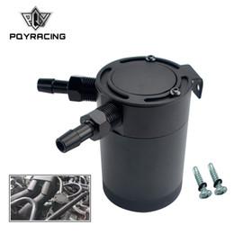 2019 lattine per il prelievo di olio PQY - NEW M16 * 1.5 Uscita ingresso 2 porte Compact Baffled Oil Catch Can Tank PQY-TK91 lattine per il prelievo di olio economici