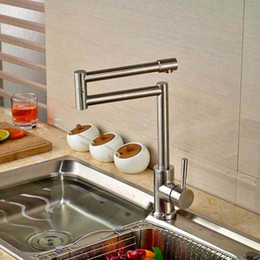 Wholesale Brushed Nickel Vessel Sinks - Creative Design Kitchen Faucet Extent Spout Vessel Sink Mixer Tap Single Handle Hole Deck Mounted Brushed Nickel