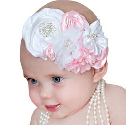 Wholesale Hair Bow Pearl Chiffon - Baby headbands Big Flower bow girls Chiffon Satin Hair accessories for girls babies Elastic Lace Rhinestone Pearl Headbands Headwear KHA561