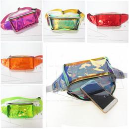 Wholesale Trunks Transparent - DHL Summer Sparkle Laser Hologram Waist Bag Women Men Chest Bag PVC Metallic Transparent Waterproof Beach Pack Fanny Pack Zipper Sport Bags