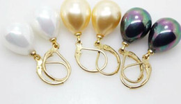 Wholesale Purple Black Pearl Earrings - 12X16mm South Sea Shell Pearl Drop Gold Plated Earrings Color Optional