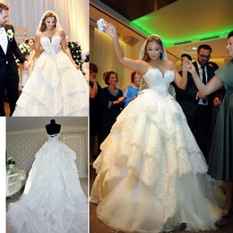 Wholesale Luxury Puffy Train Pleated Wedding Dress - Camo Wedding Dress Luxury Pearls Lace Corset Lace-up 2018 Sweetheart Tiered Skirt Puffy Princess Church Castle Vintage Wedding Gown