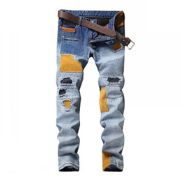 Wholesale Spliced Jeans - High Quality Ripped Jeans European American Designer Men Jeans Spliced Patchwork Pants Punk Blue Straight Moto Biker