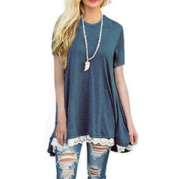 Wholesale Browning T Shirt Large - Summer Large Size Women T shirt Short Sleeves O-Neck Top Lace Side Design Longlines T shirt