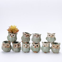 Wholesale Lovely Coats - Lovely Durable Garden Pot Breathable Animal Owl Ceramics Flowerpots Anti Wear Corrosion Resistant Mini Planters Portable HH7-859