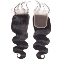 Wholesale high quality virgin hair - Bestsojoy Hair Brazilian Virgin Body Wave Lace Closure 4*4 Swiss Lace Closure 100% Hand-Tied High Quality Closure With Baby Hair